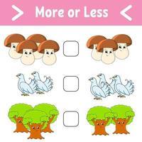 mais ou menos. planilha de atividades educacionais para crianças e bebês. ilustração em vetor cor isolada no estilo bonito dos desenhos animados.