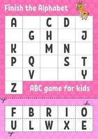 termine o alfabeto. jogo abc para crianças. corte e cole. planilha de desenvolvimento de educação. jogo de aprendizagem para crianças. página de atividades de cores. vetor