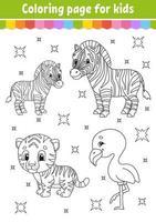 livro de colorir para crianças. personagem alegre. ilustração vetorial. estilo bonito dos desenhos animados. página de fantasia para crianças. silhueta de contorno preto. vetor