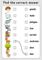 jogo de correspondência para crianças. aprenda palavras em inglês. planilha de desenvolvimento de educação. página de atividades de cores. Personagem de desenho animado. vetor