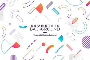 fundo geométrico com cores brilhantes e composições de formas dinâmicas vetor