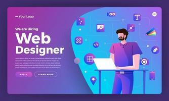 página de destino para anúncio de contratação de web designer vetor