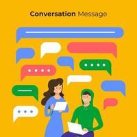 pessoas conversando online com bolhas da caixa de bate-papo vetor