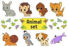 conjunto de adesivos com personagens de desenhos animados fofos. clipart de animais. desenhado à mão. pacote colorido. ilustração vetorial. coleção de emblemas de remendo. elementos de design da etiqueta. para planejador diário, organizador, diário. vetor
