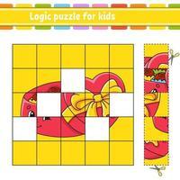 quebra-cabeça lógico para crianças com doces. planilha de desenvolvimento de educação. jogo de aprendizagem para crianças. página de atividades. ilustração em vetor plana isolada simples no estilo bonito dos desenhos animados.