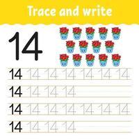 aprenda o número 14. rastrear e escrever. tema de inverno. prática de caligrafia. aprender números para crianças. planilha de desenvolvimento de educação. página de atividades de cores. ilustração vetorial isolada no estilo bonito dos desenhos animados. vetor