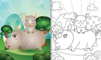 livro de colorir para crianças com uma ilustração de um rinoceronte fofo vetor