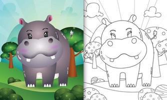 livro de colorir para crianças com uma ilustração de um hipopótamo fofo vetor
