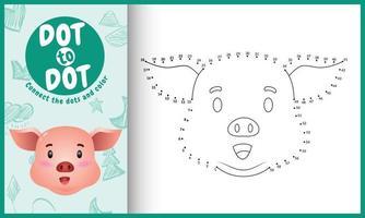 conecte o jogo de crianças pontos e página para colorir com uma ilustração de personagem bonito de porco vetor