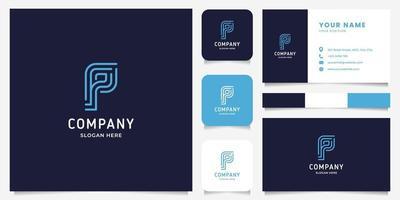 Logotipo da letra p simples e minimalista de arte de linha com modelo de cartão de visita vetor