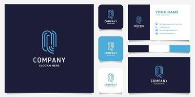 Letra de arte de linha simples e minimalista q logotipo com modelo de cartão de visita vetor