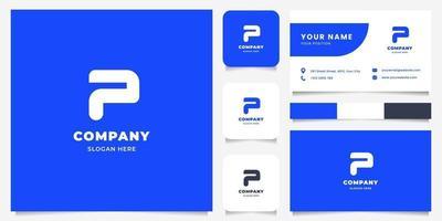 Logotipo da letra p simples e minimalista em negrito com modelo de cartão de visita vetor