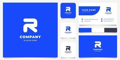 Logotipo da letra r de linha simples e minimalista em negrito com modelo de cartão de visita vetor