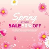 banner de venda de primavera com modelo de plano de fundo de flores desabrochando. design para publicidade, folhetos, cartazes, brochura, convite, desconto de voucher. vetor