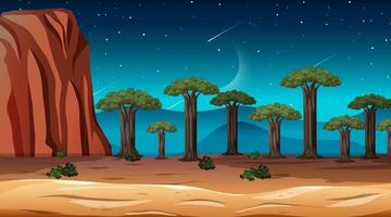 paisagem de floresta de savana africana à noite vetor