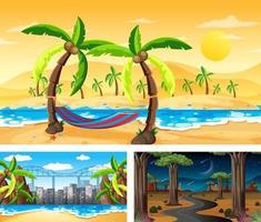 três cenas diferentes de paisagens naturais vetor