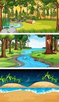 conjunto de diferentes tipos de cenas horizontais de floresta vetor