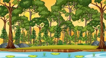 rio ao longo da cena da floresta na hora do pôr do sol vetor
