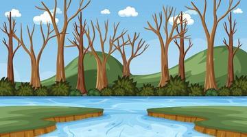 cena de fundo com muitas árvores secas e rio vetor