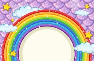 banner em branco com moldura de arco-íris em fundo roxo de escamas de peixe vetor