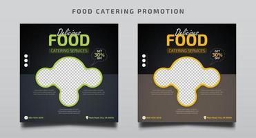 conjunto de modelos de promoção de catering de alimentos vetor