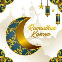 Ramadan Kareem com conceito de lua crescente vetor