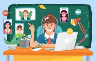 os alunos interagem com os professores durante a escolaridade online vetor