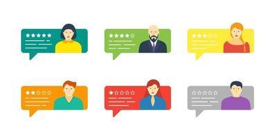 feedback chat discurso conjunto com avatares masculinos e femininos. avaliação do sistema de classificação classificação de cinco estrelas com coleta de taxas de depoimentos boas e ruins conceito de ilustração de avaliação de qualidade vetorial vetor