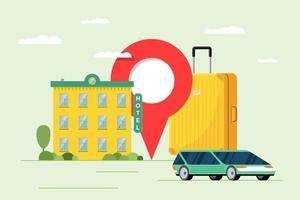 reserva de hotel e serviço de compartilhamento de carro para o conceito de turismo de férias. apartamento de viagem e reserva de transporte. edifício de motel com mala de bagagem e ilustração vetorial de pino de localização vetor