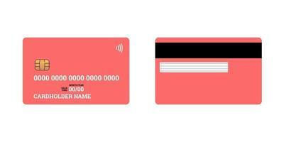 banco de plástico de crédito ou débito cartão de cobrança inteligente sem contato frente e verso com chip emv e banda magnética. maquete do modelo de design em branco. ilustração vermelha isolada do vetor