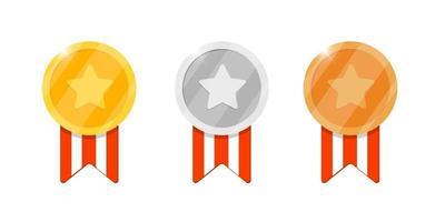 Recompensa da medalha de ouro, prata e bronze com estrela e fita listrada para vídeo game ou aplicativos de animação. prêmio de conquista de bônus primeiro segundo terceiro lugar. ilustração vetorial plana isolada de troféu vencedor vetor