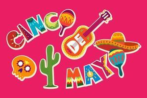celebração do cinco de mayo no méxico. 5 de maio, feriado da américa latina. colorido, detalhado, muitos objetos de fundo. modelo de vetor com símbolos mexicanos tradicionais, crânio, guitarra, flores, pimenta