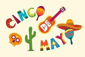 feriado mexicano 5 de maio comemoração de cinco de maio. ilustração vetorial bonita com modelo de design dos desenhos animados. símbolos engraçados da América Latina tradicional caveira, guitarra, flores, pimenta vermelha, cacto vetor