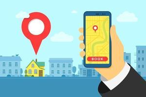 mão segurando o smartphone na pesquisa de hotéis ou albergues e reservas online pino de localização exterior do edifício da casa. aplicativo móvel pesquisando o ponto de gps no mapa da cidade e no plano de fundo da paisagem urbana. ilustração em vetor eps