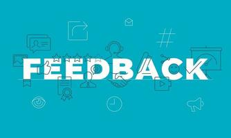 conceito de palavra de feedback. envolvimento dos funcionários. satisfação do cliente. isolado rotulação ideia de tipografia com ícones de linha. revisão e conselhos vetor contorno ilustração banner