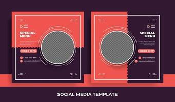 panfleto ou modelo de mídia social tema de comida vetor
