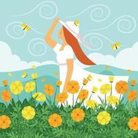 bela primavera na aldeia vetor