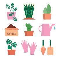 conjunto de ícones de kit de jardinagem vetor