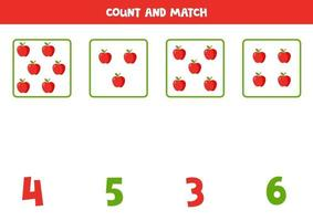 jogo de contagem para crianças. jogo de matemática com maçãs de desenho animado. vetor