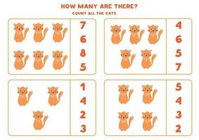 contando jogo de matemática com gatos bonitos dos desenhos animados. vetor