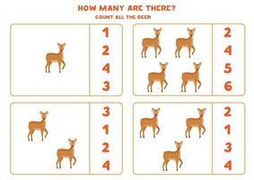 contando jogo de matemática com cervos bonitos dos desenhos animados. vetor