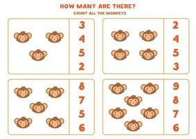jogo de contagem para crianças. jogo de matemática com macaco de desenho animado. vetor
