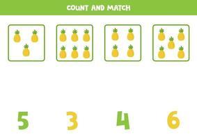 jogo de contagem para crianças. jogo de matemática com abacaxi de desenho animado. vetor