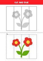 prática de corte para crianças. corte e cole uma flor bonita. vetor