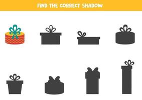 Encontre a sombra correta da caixa de presente de Natal. vetor