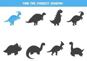 Encontre a sombra correta do dinossauro dos desenhos animados. planilha lógica. vetor