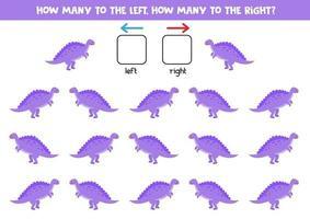 esquerda ou direita com dinossauro roxo bonito. planilha lógica para pré-escolares. vetor