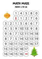 planilha matemática com árvore de Natal e bugiganga. vetor