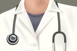 médico de jaleco branco com estetoscópio vetor