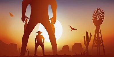 duelo entre dois cowboys em um cenário do oeste americano vetor
